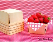Berry Basket - Quart Size (LARGE) - Wood Berry Basket - Set of 6 - Picnic Basket - Lunch Box - Party Favor Box - Wedding Favor