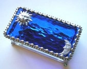 Stained Glass Jewelry Box - Sun and Moon Design - Celestial Theme  - True Blue - Cobalt Blue  - Handcrafted - Made in USA