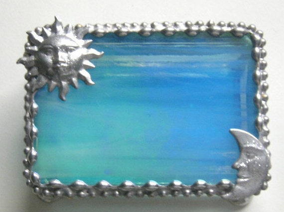 Stained Glass|Stained Glass Jewelry Box|Trinket Box|Sun and Moon|Turquoise|Jewelry|Jewelry Storage|Glass Art|Handcrafted|Made in USA