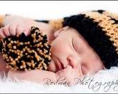 Black and Gold Striped Crochet Baby Long Tail Elf Hat - Team Colors - Photo Prop - made to order