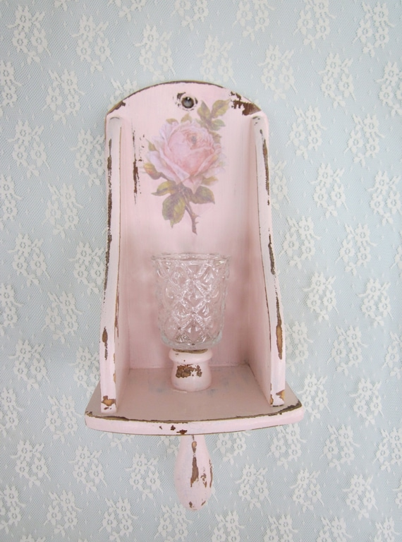 Treasury Item Shabby Chic Rose Wall Sconce Pink Wooden Candle