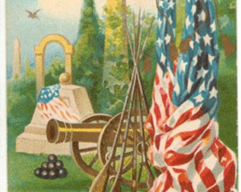 Vintage Postcard, Patriotic, Titled Honor The Brave, Flags, Cannons, 1909