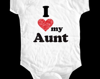 I Love (Heart) my Aunt One-Piece or shirt - Printed on Baby One-Piece, Toddler shirts