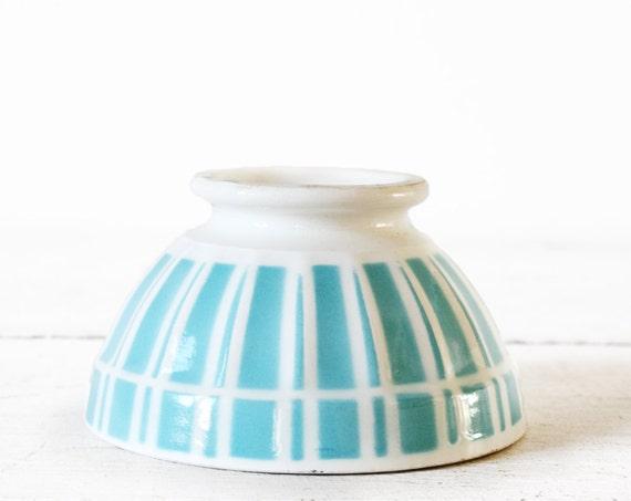 1 LOVELY vintage Digoin MINI BOWL with  blue turquoise stripes  bols cafe au lait  -