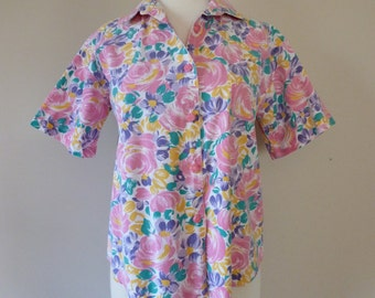 80's Gitano Shirt Pastel Rose Shaped Buttons Floral Print Cotton M L