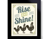 Art for Kitchen Decor Rise and Shine Cooking Quote Rooster Art Farmhouse Chic Country Decor DexMex Chicken Artwork Good Morning
