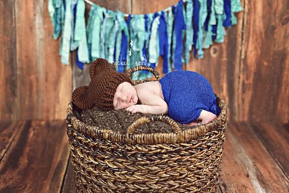 Crochet Bear Hat, Hat with Ears For Newborn, Baby Bear Hat, Baby Boy Hat