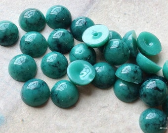 8 mm Green Turquoise Color Flat Back Acrylic Cabochons (.mt)