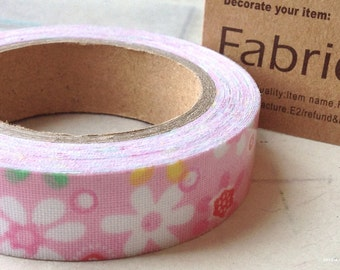 1 Roll of 1.5 cm Floral Pattern Deco Adhesive Fabric Tape (s.g)
