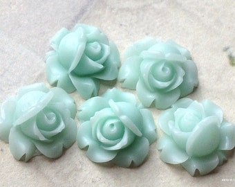 15 mm Peppermint Green Shrub Rose Resin Flower Cabochons (.sg)