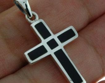 Black Onyx Silver Cross Pendant, 925 Sterling Silver, p11