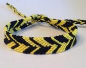 CLEARANCE - Black & Yellow - Chevron Friendship Bracelet