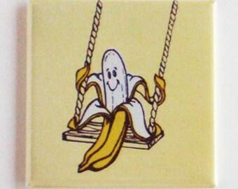 Banana on a Swing Fridge Magnet