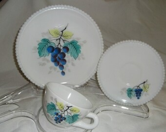 Westmoreland Milk Glass Beaded Edge Grape Fruit Lunch Set 3 Pc Plate Cup Saucer Vintage Mid Century Glassware