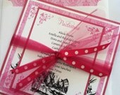 """Printed Alice in Wonderland Birthday, Quinceanera, Bridal Shower, Wedding Invitation - Size 6.25"""" square with Envelopes"""