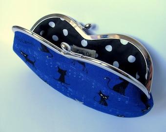 Black Cat glasses case kiss lock purse frame Blu Black Metalic frame purse Cat lover gift