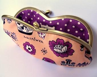 Glasses case Sunglass case Kiss lock purse Metal frame Matryoshka doll Pink Purple Eyeglasses case