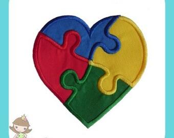 Autism awareness Heart applique  design