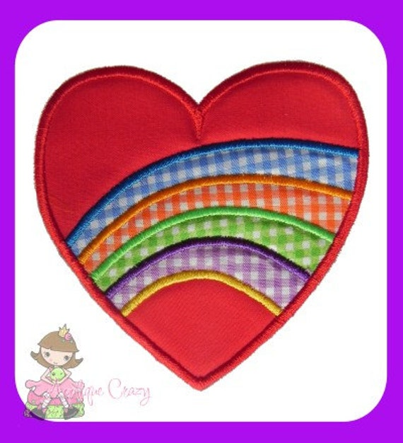 Rainbow Heart Applique embroidery design