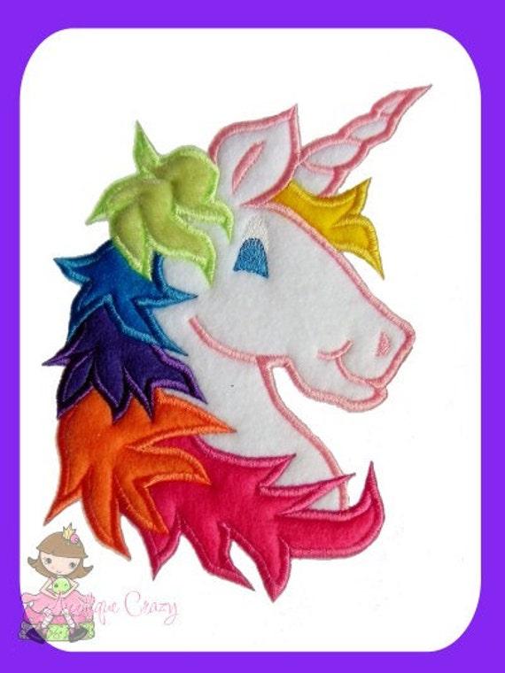 Unicorn Applique embroidery design