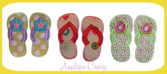 3 styles of flip flops Applique design