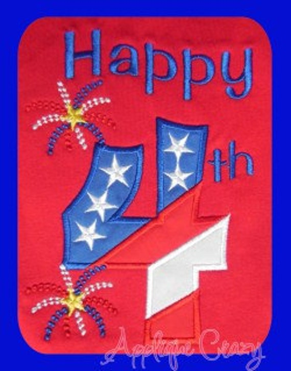Happy fourth Applique design