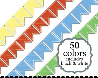 Digital ribbon clip art banner clipart, stitch bunting clipart digital ribbon banner scrapbooking : r0101 v301 black white