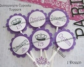 Momma Eva's -- (12)  Quinceanera Collection Layered Cupcake Toppers //  Birthday Party/ 15th Birthday / Keepsakes // Decorations