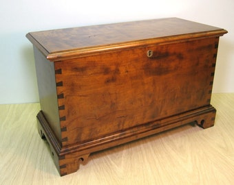 Curly Cherry Blanket Chest Keepsake Box with Tiger Maple Tray
