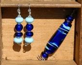 Blue Pendant and Earring Set Lampwork Sterling Silver Glass Beads Long Earrings Large Pendant