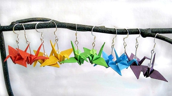 Origami Paper Crane Earrings--Pick Your Color