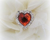 RED Gem Heart Rhinestone Buttons. Red Heart Button. QTY: 1 button
