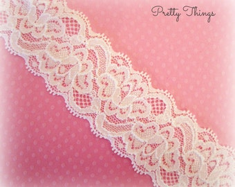 "White Stretch Lace. White Elastic Lace. White Lace Elastic Trim. 1.5"" Wide. 5 Yards. MARA lace."