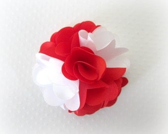 Red and White Satin Flower. Satin Flower Puff. Mini Flower Puff -- 1 pc