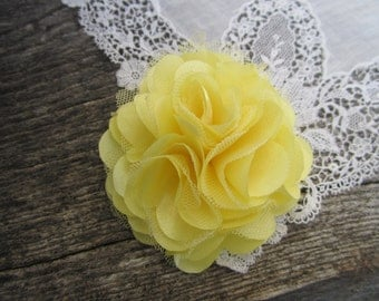Light Yellow Satin and Tulle Flower. 1 pc. GISELLE Collection.