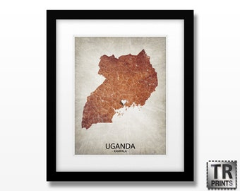 Uganda Map Art Print - Original Custom Map Art Print Available in Multiple Size and Color Options