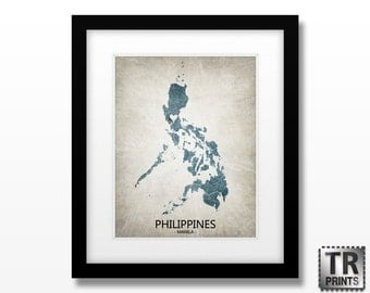 Philippines Map Art Print - Home Is Where The Heart Is Love Map - Original Custom Map Art Print Available in Multiple Size and Color Options