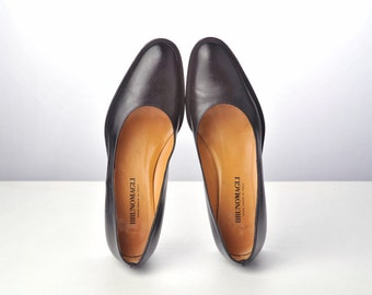 Vintage Black Leather Heels / Bruno Magli Italian Designer Shoes