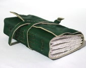 Leather Journal, Pocket-Size, Emerald Green 3 x 4.5 Hand-Bound Journals by The Orange Windmill on Etsy