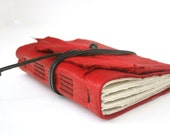 Leather Journal, Red, Hand-Bound 4.5 x 6 Journal by The Orange Windmill on Etsy