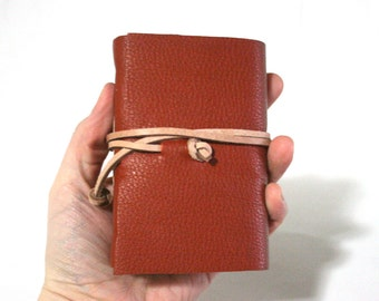 Leather Journal, Pocket-Size, Orange, Hand-Bound 3 x 4.5 Journals by The Orange Windmill