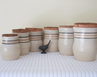 RETRO Mid Century pottery kitchen canisters - set of 6, cork lids