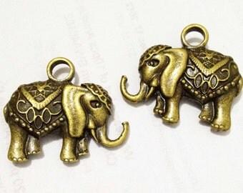 Elephant Charm -3pcs Antique Bronze Heavy 3D Elephant Charm Pendants 30x33mm C401-1