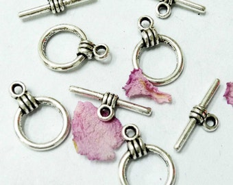 Toggle Clasps -25pcs Antique Silver Round Toggle Clasp Charm Pendants 10mm AA504-3