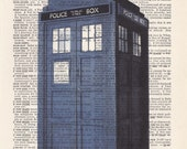 Dictionary Art Print - Upcycled Vintage Paper - Doctor Who Tardis Print - 7-1/4 x 10-1/2