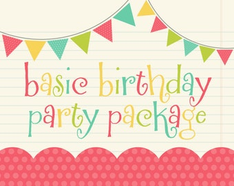 Party Pack SALE - Any Birthday Banner, 12 Cupcake Toppers & Door Sign - Vintage Airplane, Pirate, Circus, Vintage Train, Mustache and More