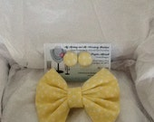 Yellow Polka Dot Little Girls Bow Tie and Button Earring Set