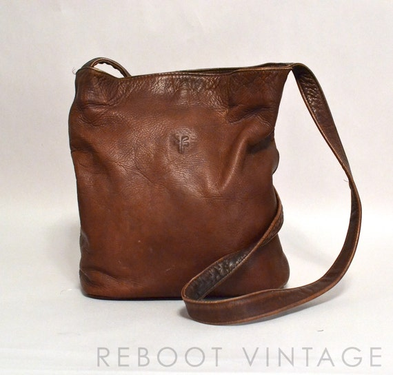 Vintage Frye Bag Brown Colombian Leather Crossbody Bucket