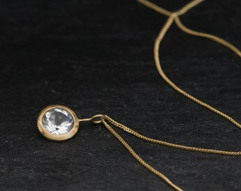 18K Gold Topaz Necklace - White Topaz Gold Necklace - Pendant Necklace in 18k Gold - Lollipop Gold Necklace - Bridal Wear - Free Shipping