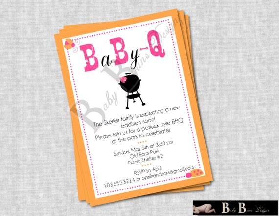 baby q coed baby shower invitation bbq pink orange lady